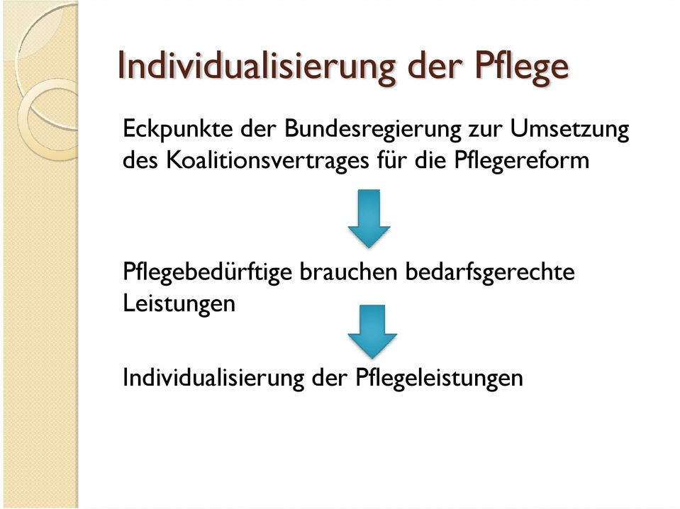 Koalitionsvertrages für die Pflegereform