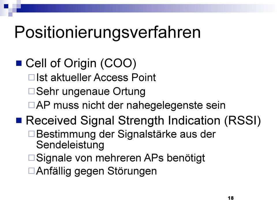 Received Signal Strength Indication (RSSI) Bestimmung der Signalstärke