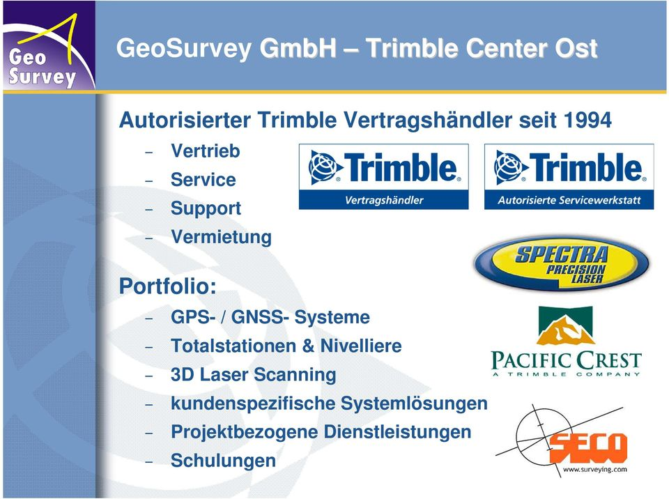 Portfolio: GPS- / GNSS- Systeme Totalstationen & Nivelliere 3D
