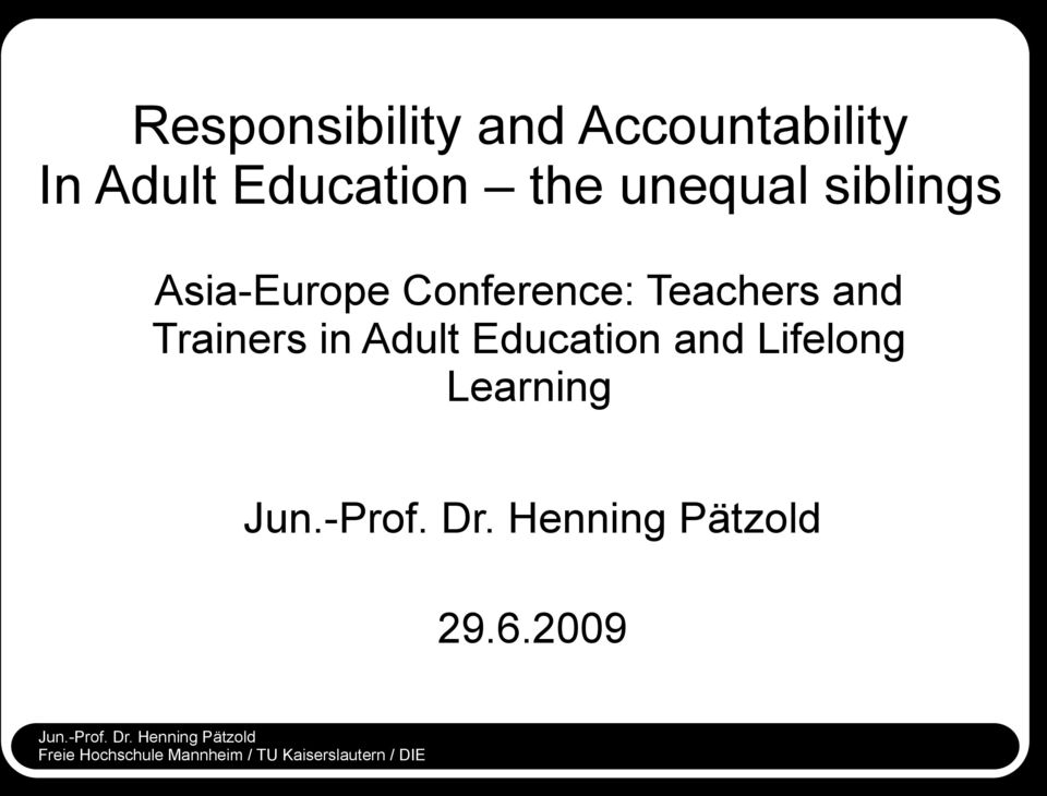 Conference: Teachers and Trainers in Adult