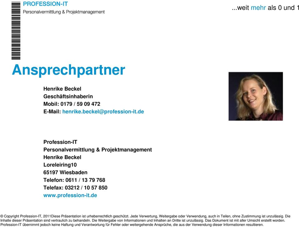 de Profession-IT Personalvermittlung & Projektmanagement Henrike Beckel