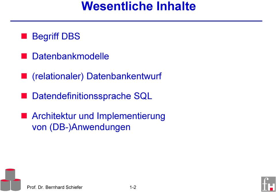 Datendefinitionssprache SQL Architektur und