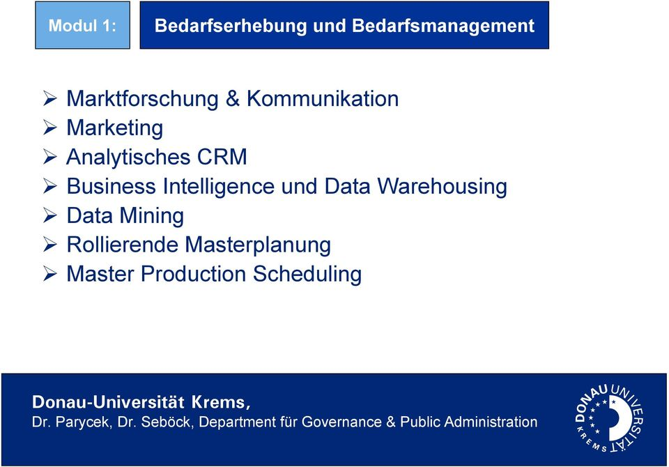 CRM Business Intelligence und Data Warehousing Data