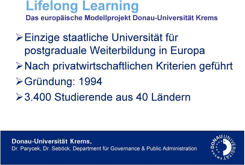 postgraduale Weiterbildung in Europa Nach