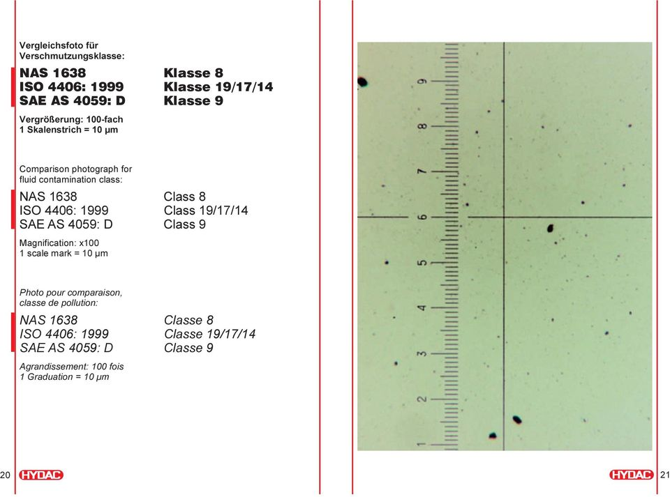 4406: 1999 Class 19/17/14 SAE AS 4059: D Class 9 Magnification: x100 1 scale mark = 10 µm Photo pour comparaison, classe de