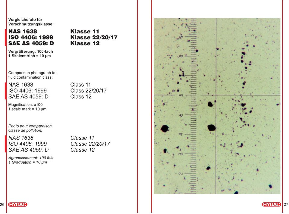 4406: 1999 Class 22/20/17 SAE AS 4059: D Class 12 Magnification: x100 1 scale mark = 10 µm Photo pour comparaison, classe de