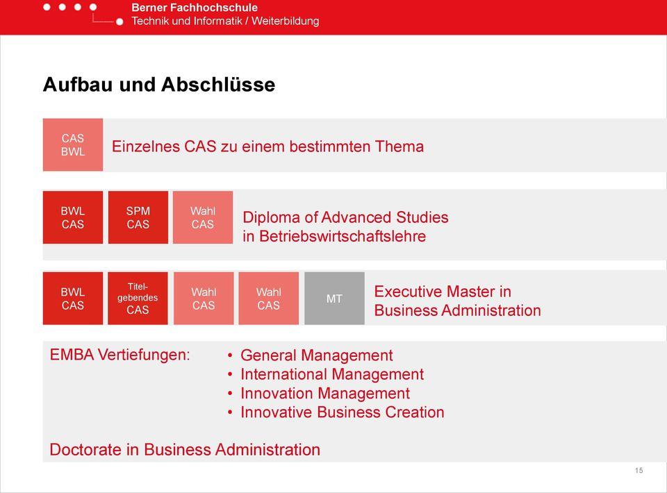 CAS MT Executive Master in Business Administration EMBA Vertiefungen: General Management