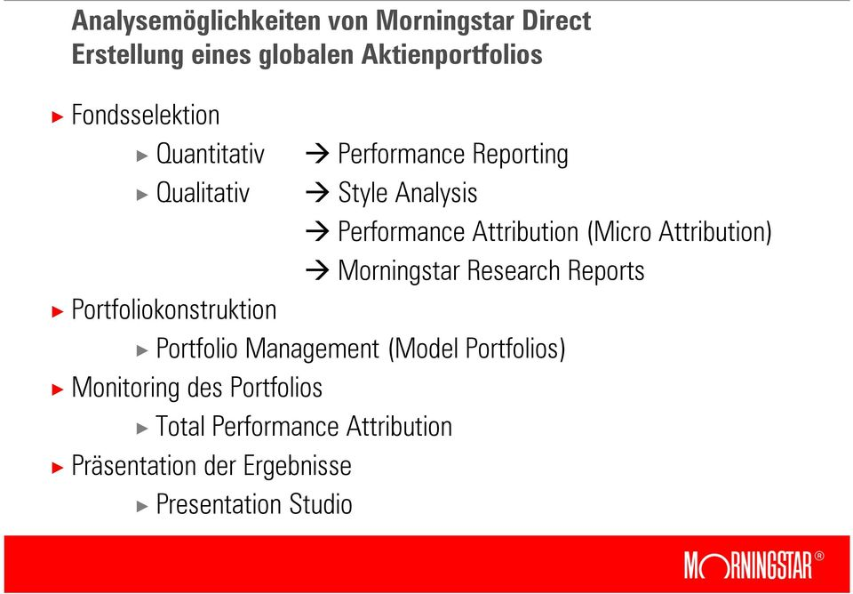 (Micro Attribution) Morningstar Research Reports Portfoliokonstruktion Portfolio Management (Model