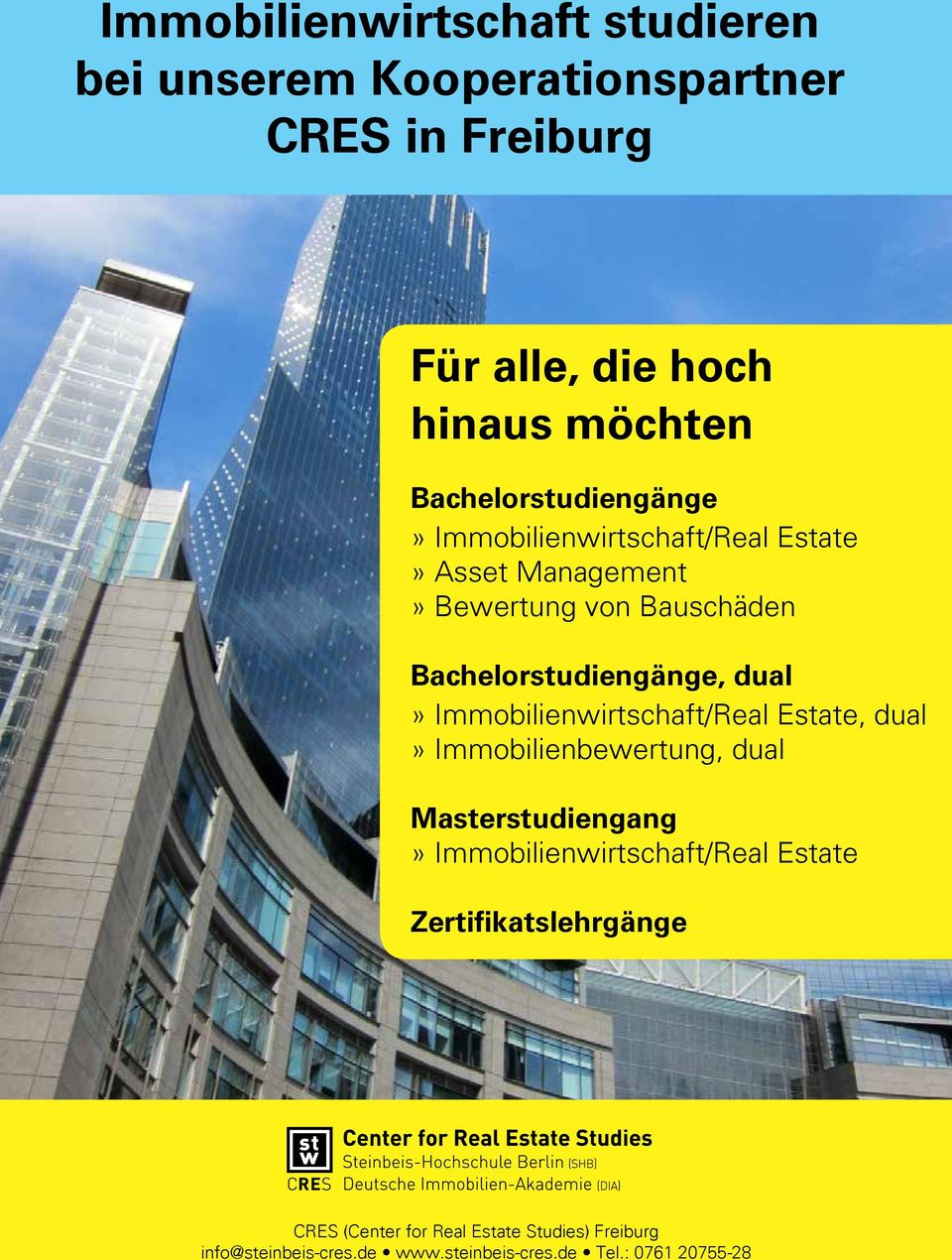 dual» Immobilienwirtschaft/Real Estate, dual» Immobilienbewertung, dual Masterstudiengang» Immobilienwirtschaft/Real