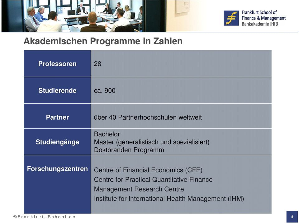 spezialisiert) Doktoranden Programm Forschungszentren Centre of Financial Economics (CFE) Centre for