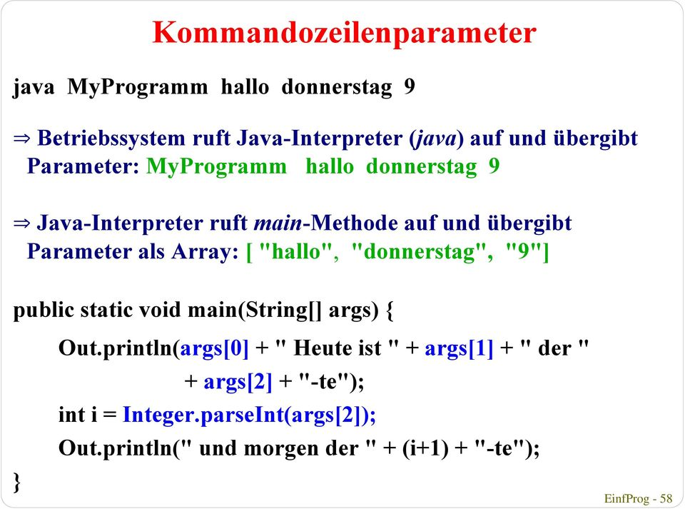 "Array: [ ""hallo"", ""donnerstag"", ""9""] public static void main(string[] args) { Out."