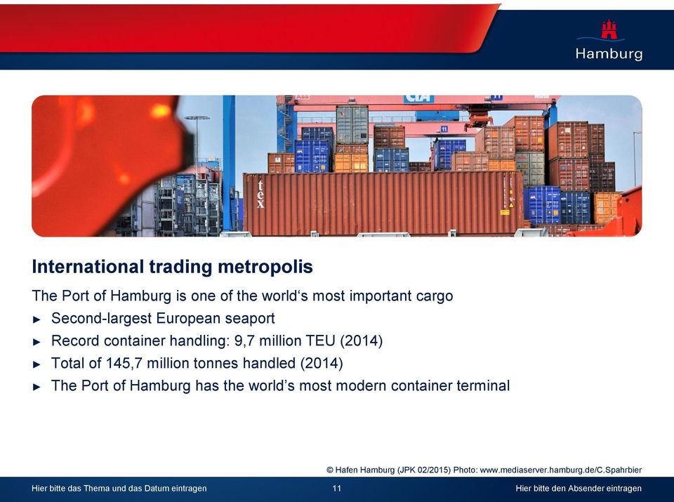 million tonnes handled (214) The Port of Hamburg has the world s most modern