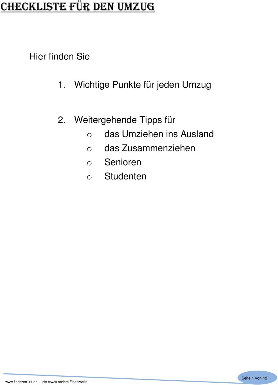 checkliste f r den umzug pdf. Black Bedroom Furniture Sets. Home Design Ideas