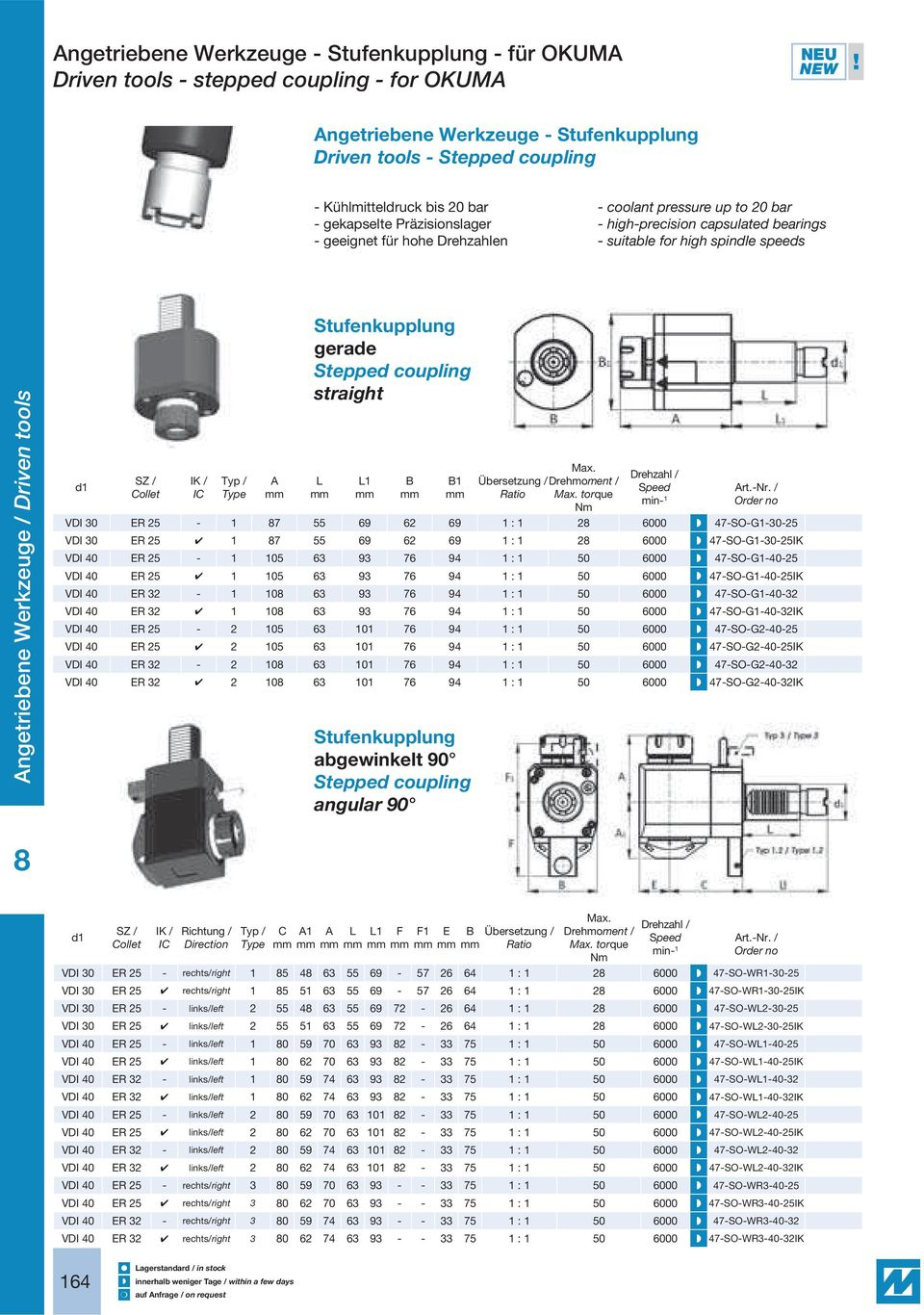 high-precision capsulated bearings - suitable for high spindle speeds ngetriebene Werkzeuge / Driven tools Typ / Type Stufenkupplung gerade Stepped coupling straight 1 1 torque min- 1 rt.-nr.