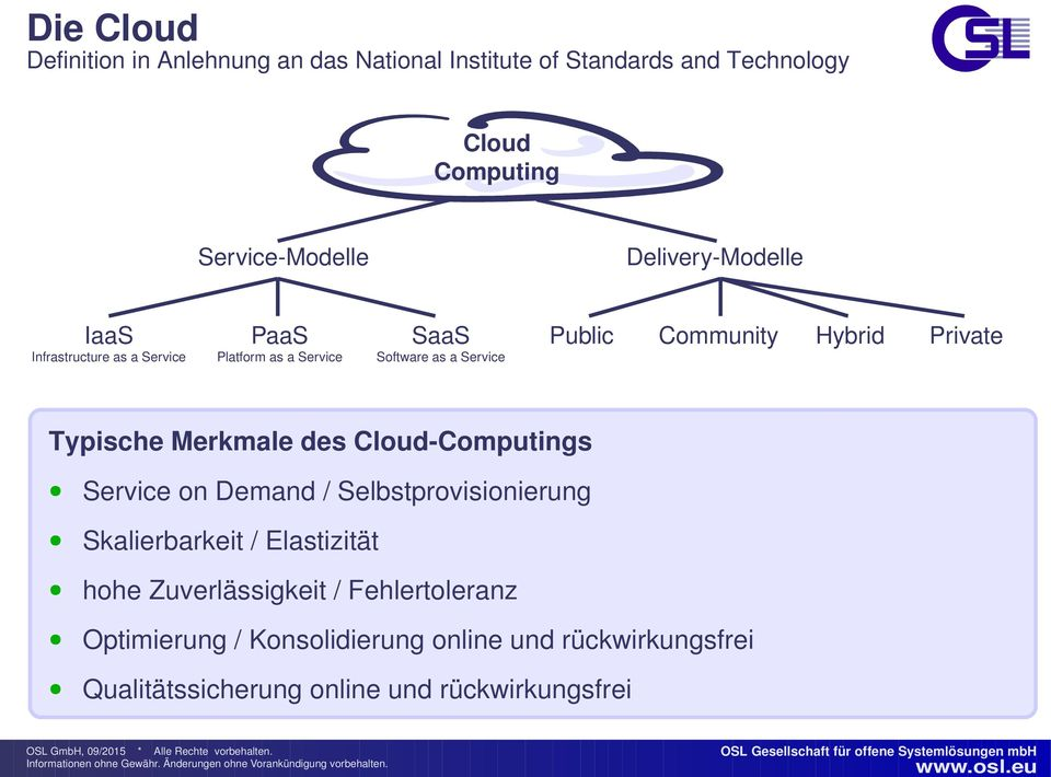 Hybrid Private Typische Merkmale des Cloud-Computings Service on Demand / Selbstprovisionierung Skalierbarkeit / Elastizität