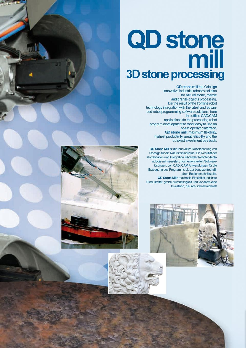 program development to robot easy to use on board operator interface. QD stone mill: maximum flexibility, highest productivity, great reliability and the quickest investment pay back.
