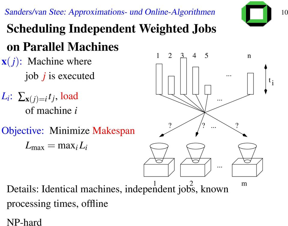 j, load of machine i Objective: Minimize Makespan L max = max i L i 1 2 3 4 5 n?