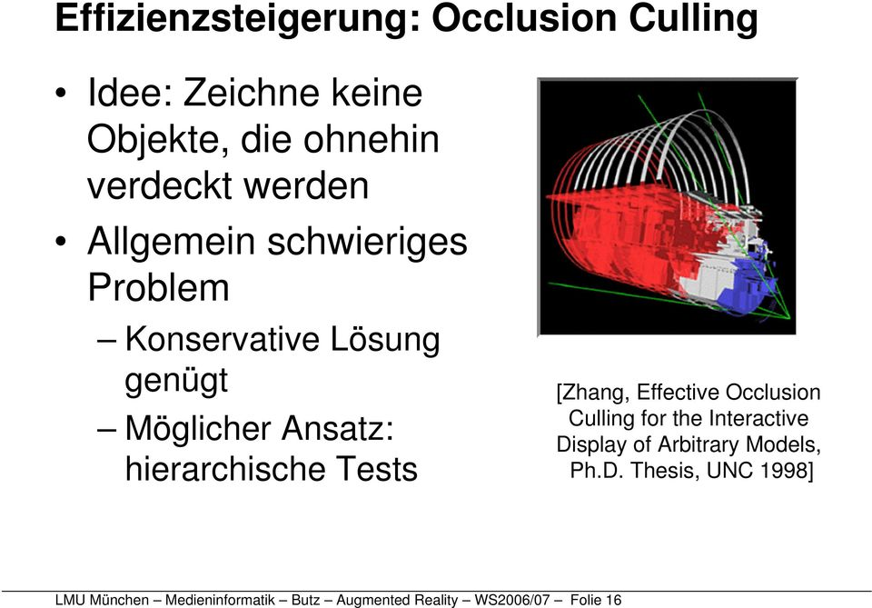 hierarchische Tests [Zhang, Effective Occlusion Culling for the Interactive Display of