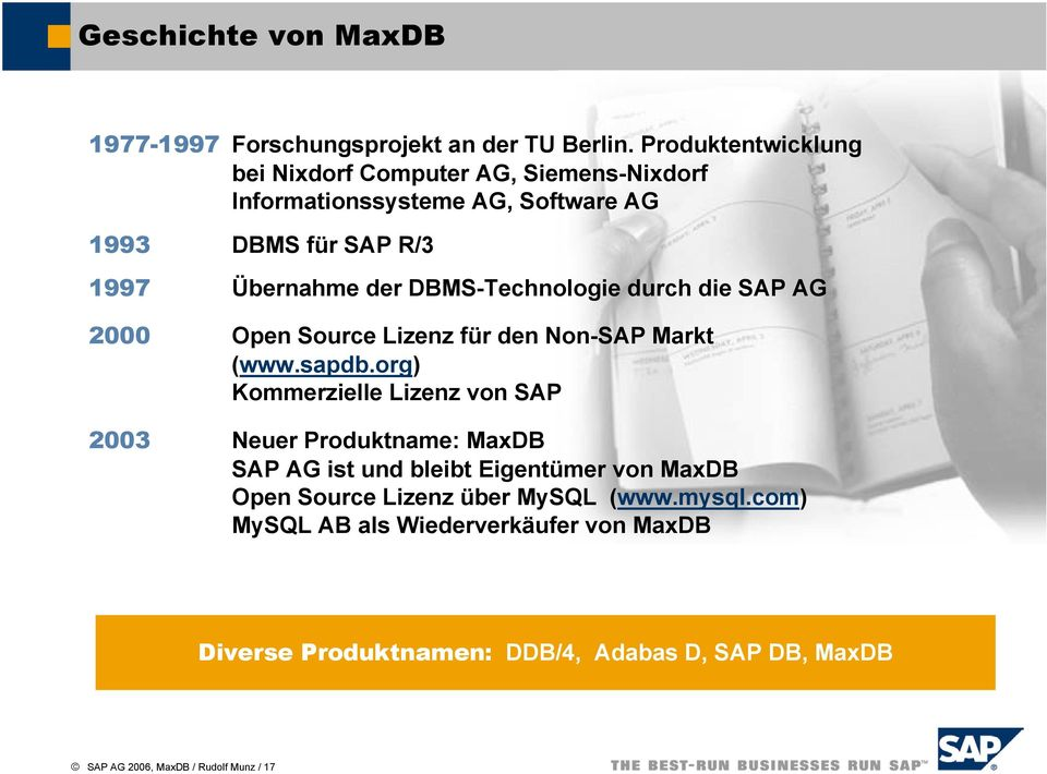 DBMS-Technologie durch die SAP AG 2000 Open Source Lizenz für den Non-SAP Markt (www.sapdb.