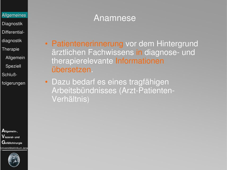 therapierelevante Informationen übersetzen.