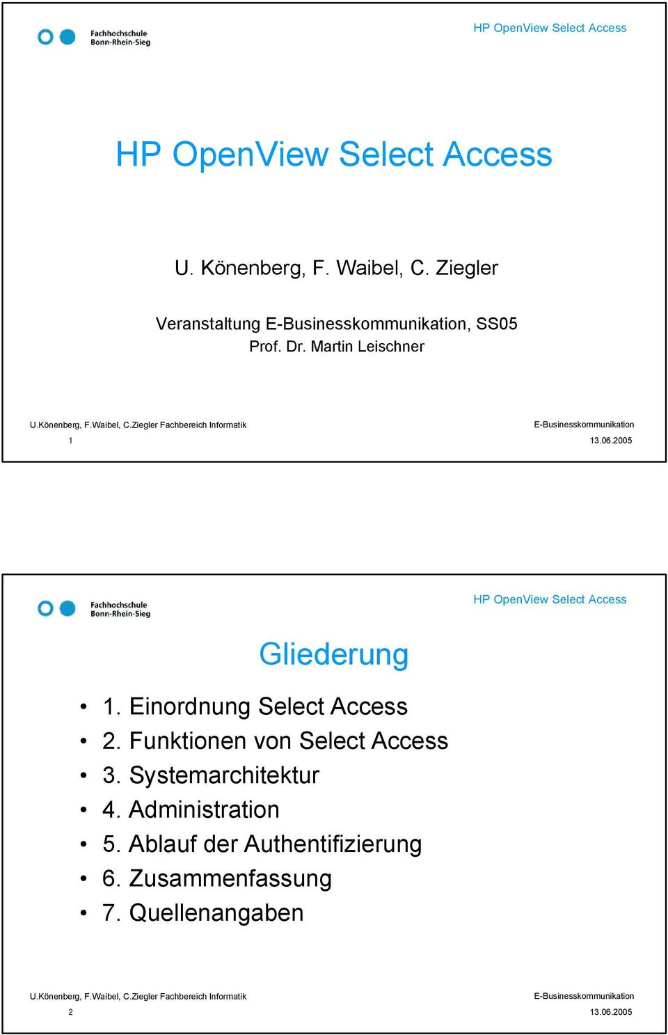 Funktionen von Select Access 3. Systemarchitektur 4.