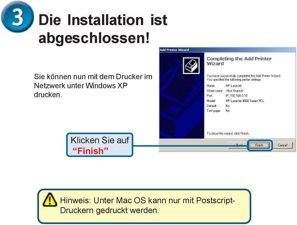 unter Windows XP drucken.