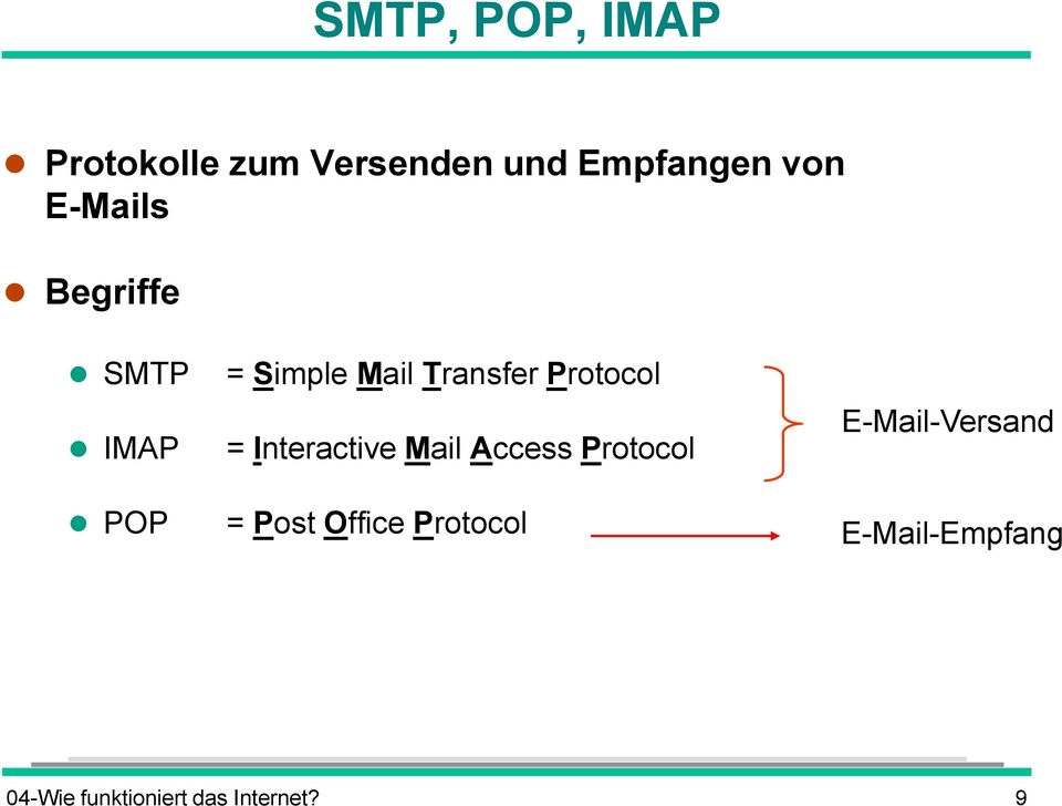 Protocol = Interactive Mail Access Protocol = Post Office