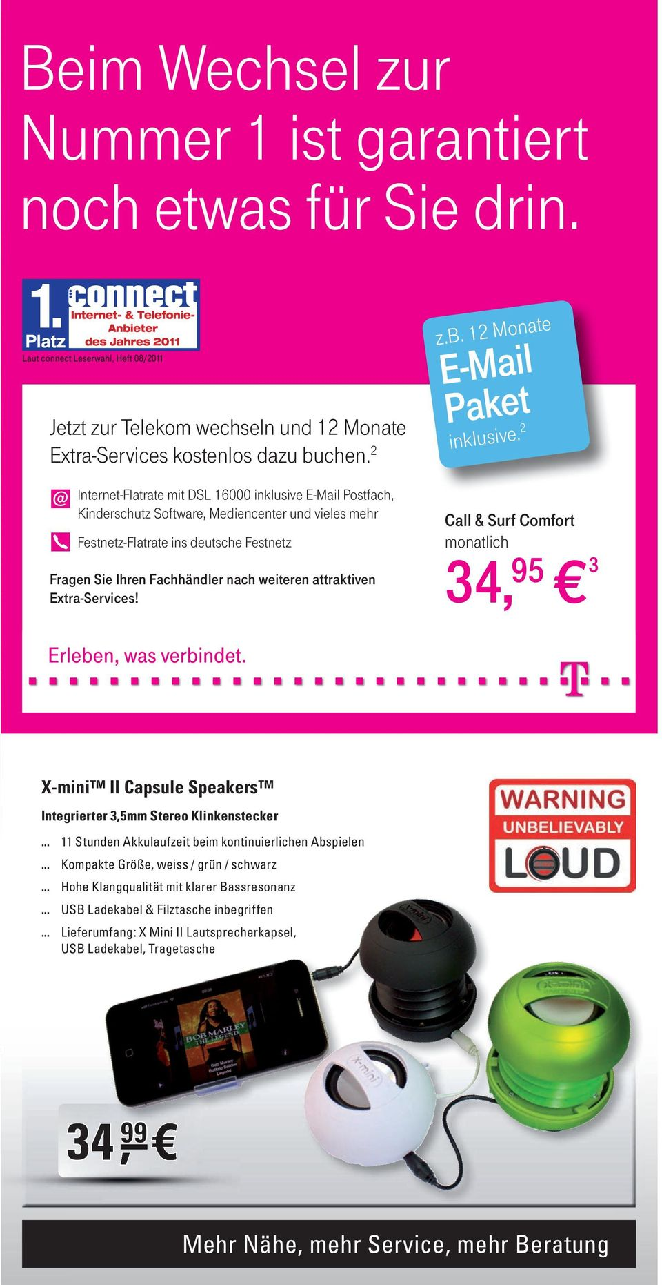 attraktiven Extra-Services! z.b. 12 Monate E-Mail Paket inklusive.