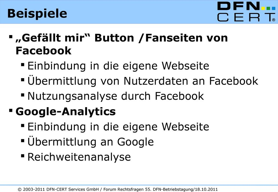 an Facebook Nutzungsanalyse durch Facebook Google-Analytics