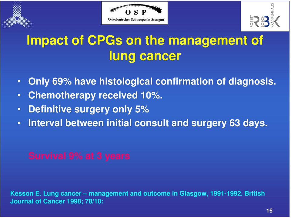 Definitive surgery only 5% Interval between initial consult and surgery 63 days.