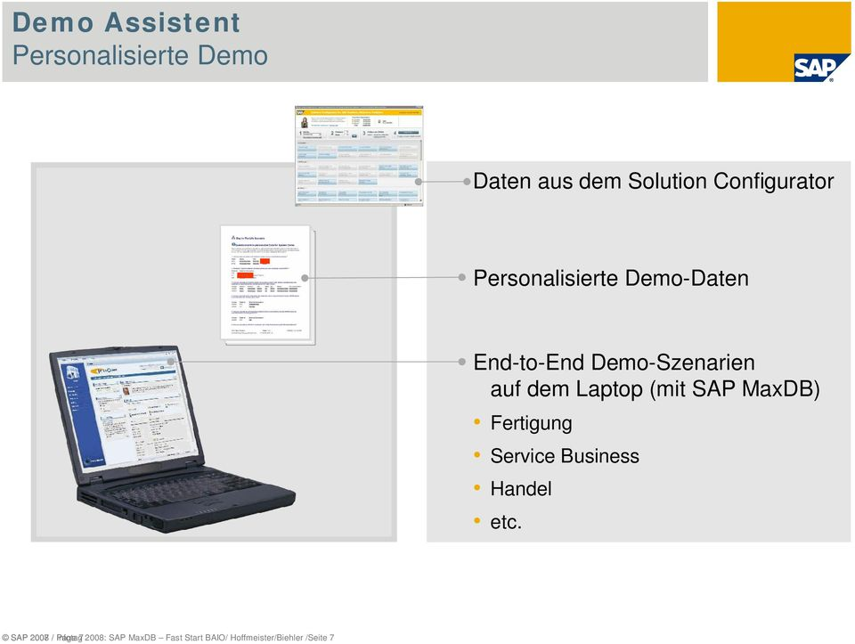 (mit SAP MaxDB) Fertigung Service Business Handel etc.