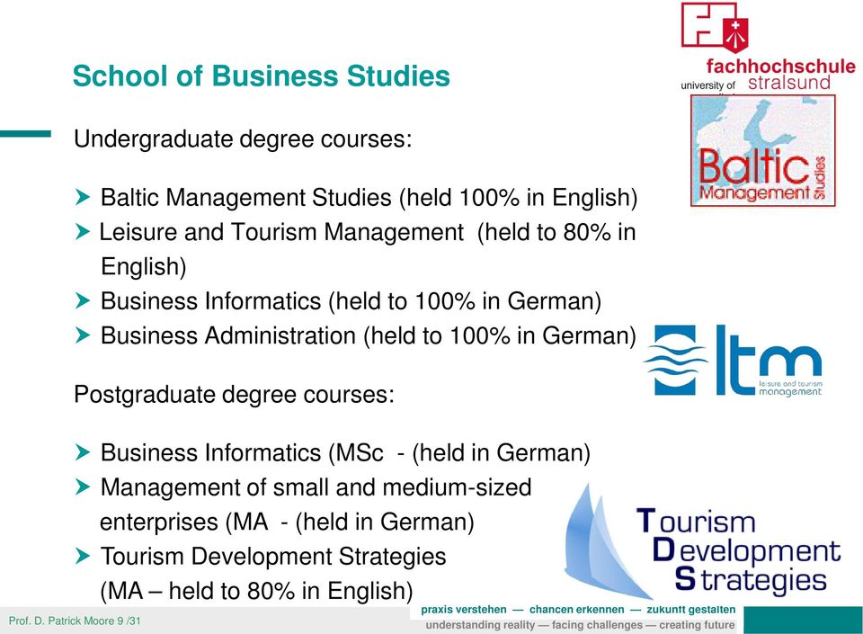 100% in German) Postgraduate degree courses: Business Informatics (MSc - (held in German) Management of small and