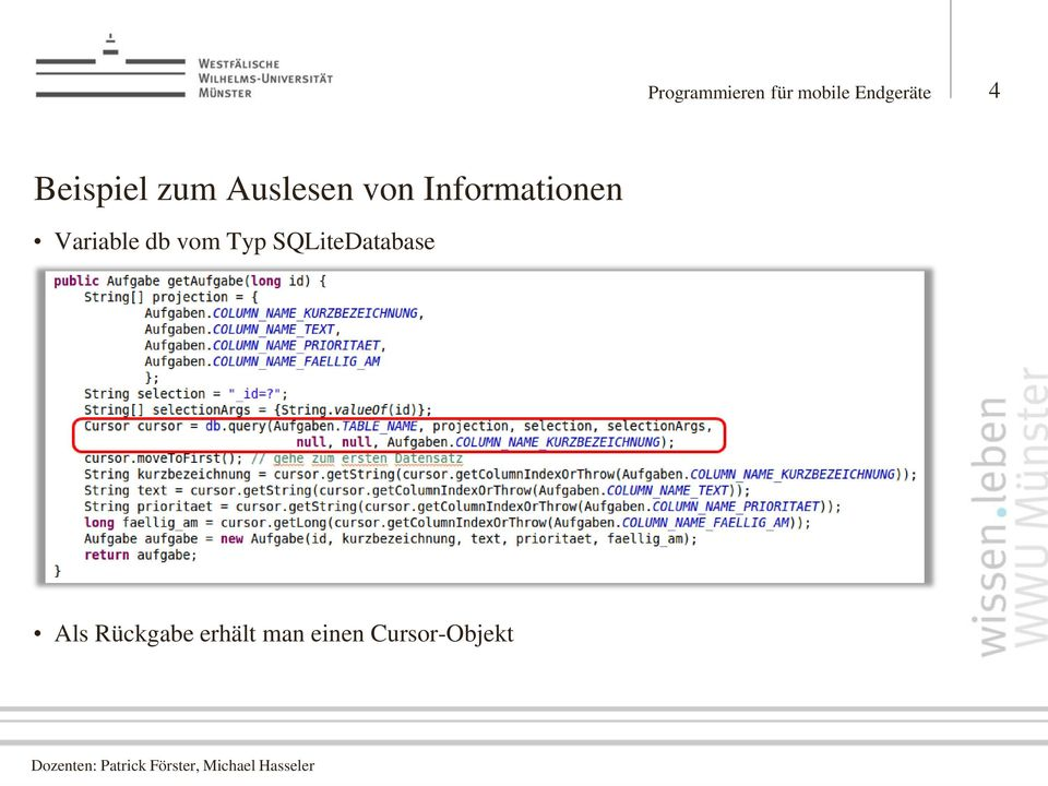 Informationen Variable db vom Typ