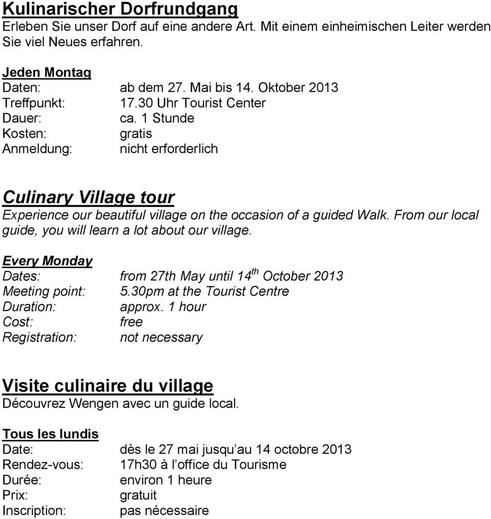 G steprogramm sommer 2013 summer program 2013 programme d t pdf - Office du tourisme wengen ...