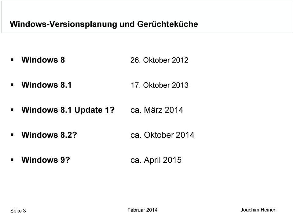 1 Update 1? ca. März 2014 Windows 8.2? ca. Oktober 2014 Windows 9?