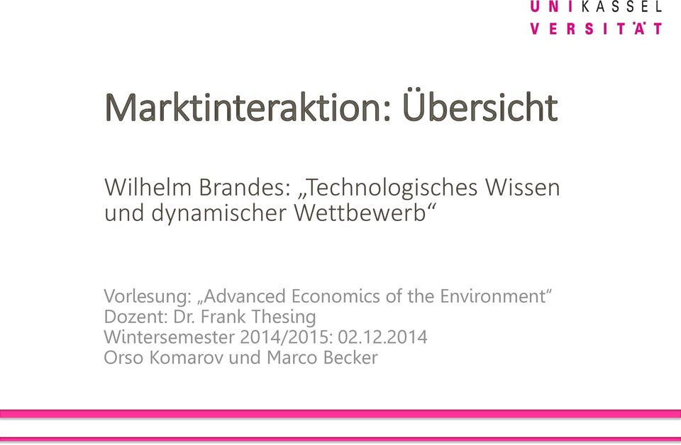 Vorlesung: Advanced Economics of the Environment