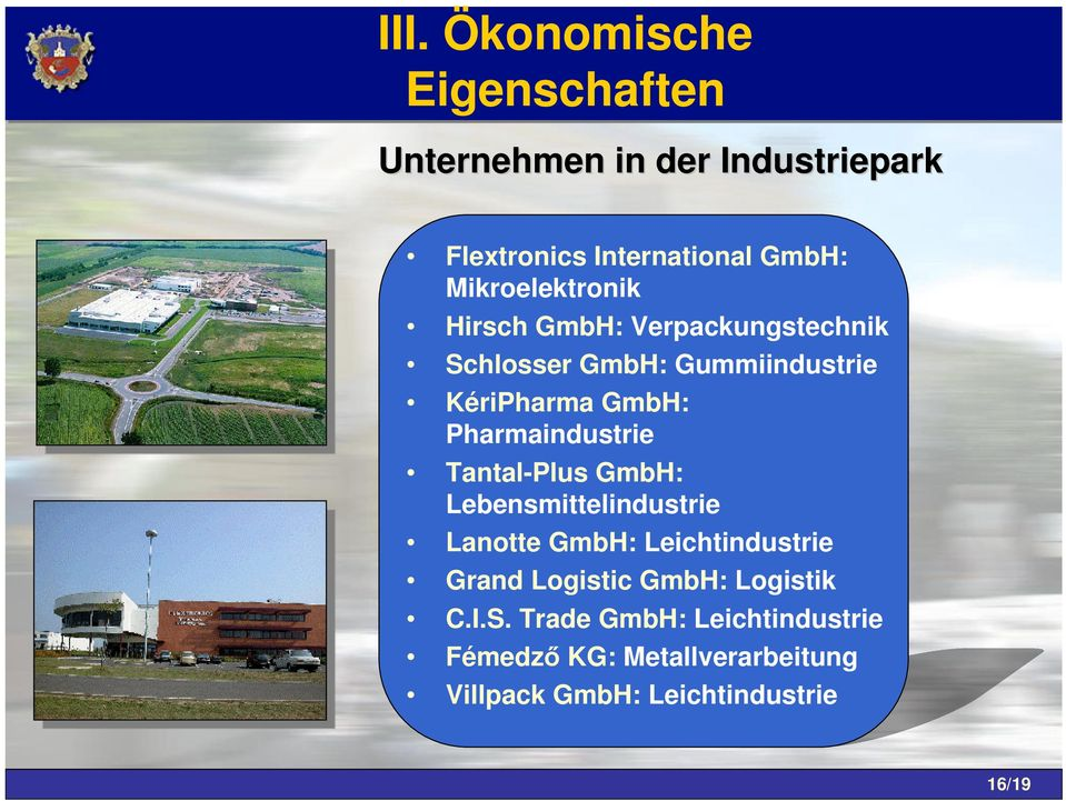 Pharmaindustrie Tantal-Plus GmbH: Lebensmittelindustrie Lanotte GmbH: Leichtindustrie Grand Logistic
