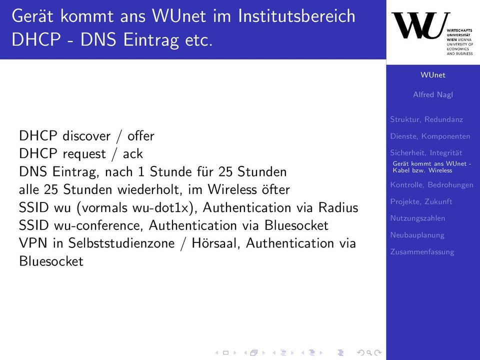 wiederholt, im Wireless öfter SSID wu (vormals wu-dot1x), Authentication via Radius SSID