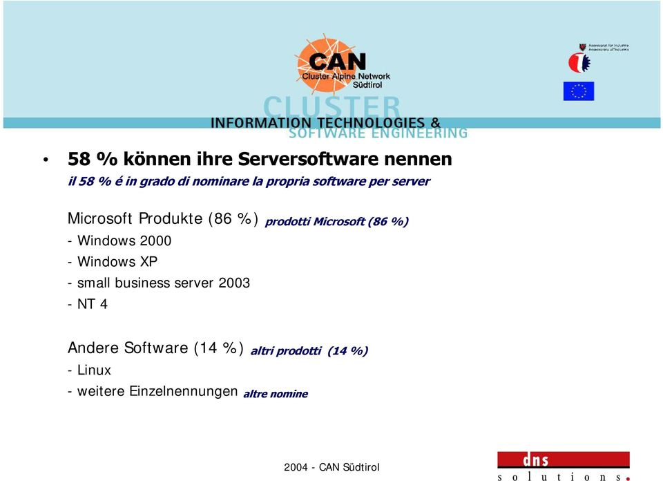 %) - Windows 2000 - Windows XP - small business server 2003 -NT 4 Andere