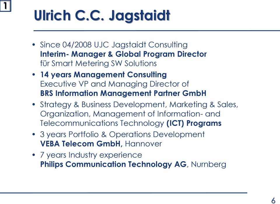 years Management Consulting Executive VP and Managing Director of BRS Information Management Partner GmbH Strategy & Business