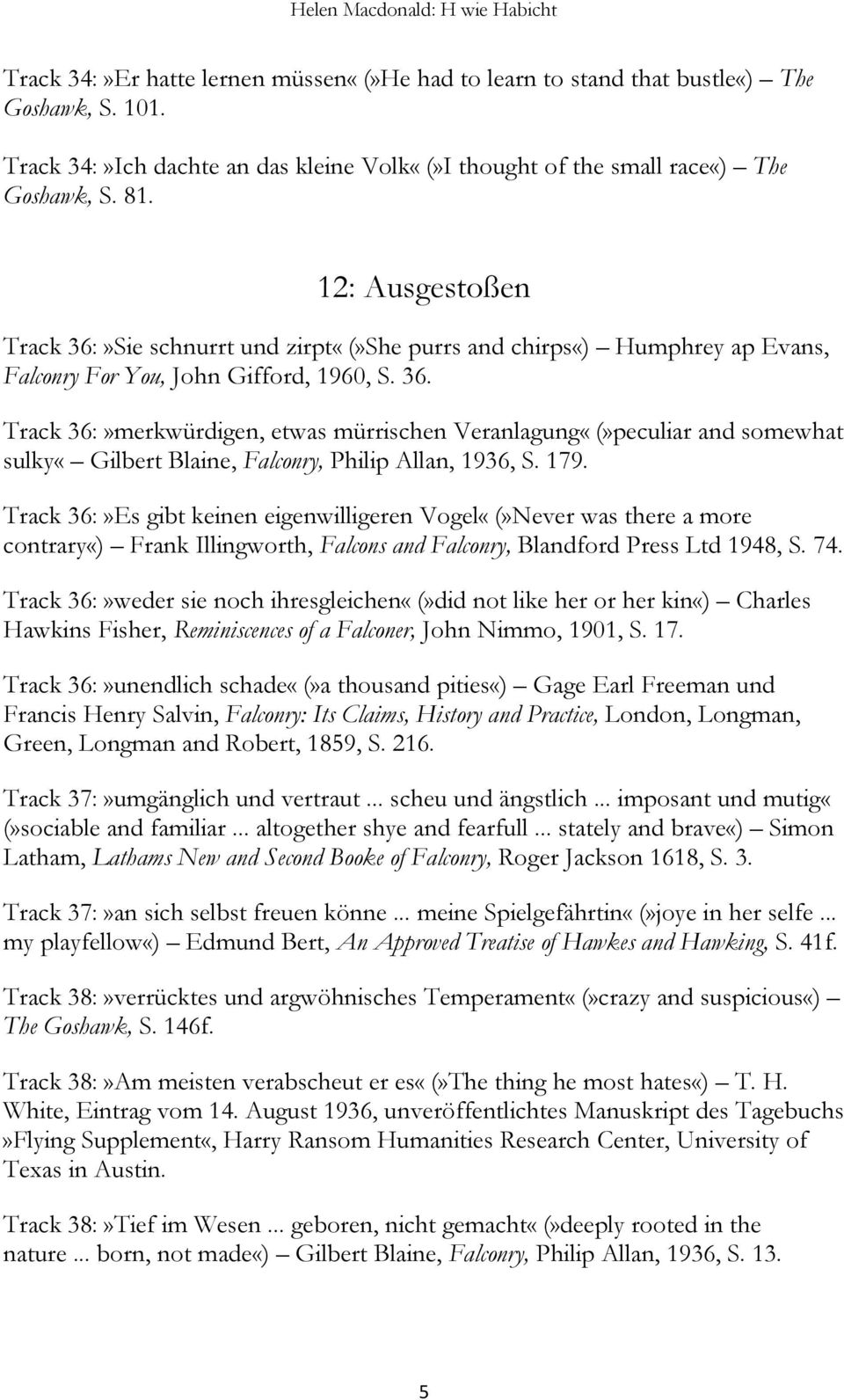 179. Track 36:»Es gibt keinen eigenwilligeren Vogel«(»Never was there a more contrary«) Frank Illingworth, Falcons and Falconry, Blandford Press Ltd 1948, S. 74.