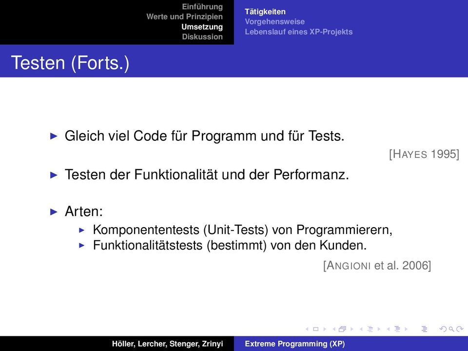 [HAYES 1995] Arten: Komponententests (Unit-Tests) von