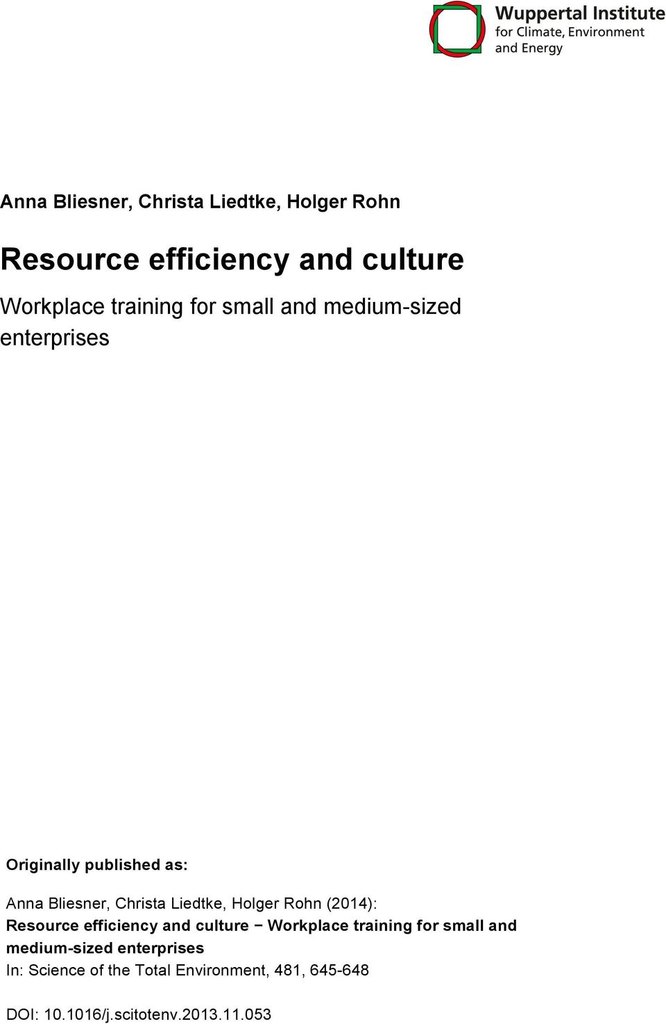 Holger Rohn (2014): Resource efficiency and culture Workplace training for small and