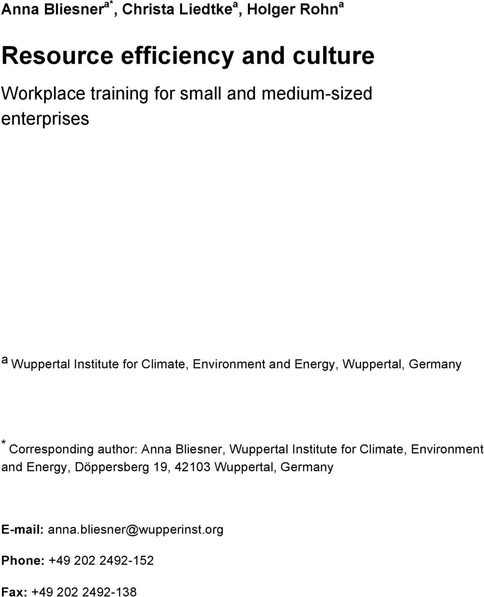 Germany * Corresponding author: Anna Bliesner, Wuppertal Institute for Climate, Environment and Energy,