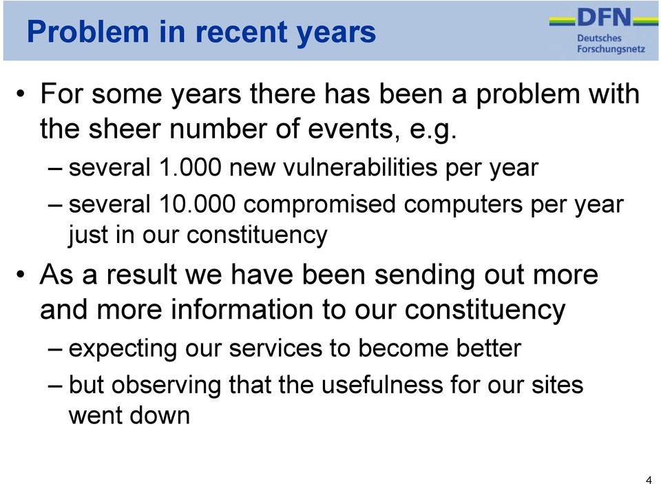000 compromised computers per year just in our constituency As a result we have been sending out