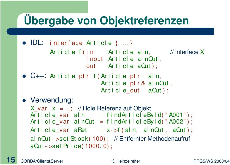 "Referenz auf Objekt Article_var ain = findarticlebyid(""a001""); Article_var ainout = findarticlebyid(""a002""); Article_var"