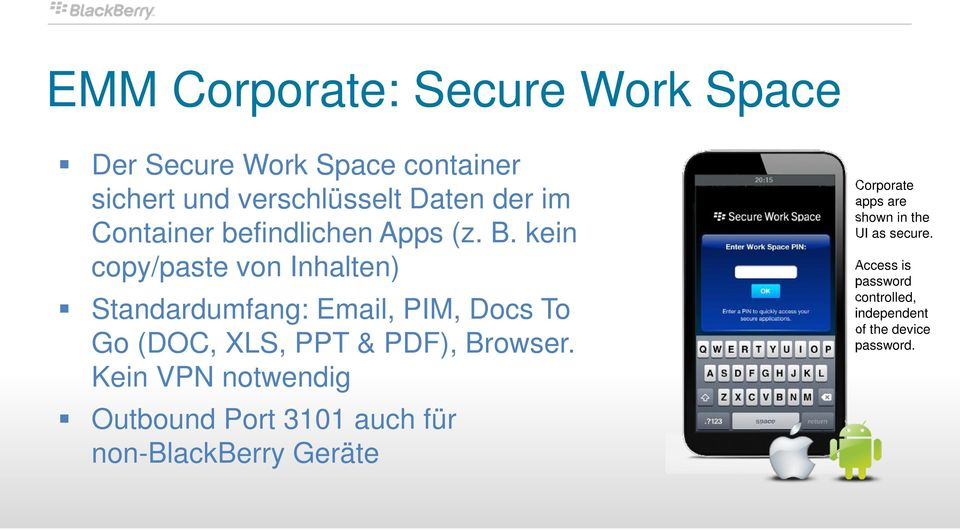 kein copy/paste von Inhalten) Standardumfang: Email, PIM, Docs To Go (DOC, XLS, PPT & PDF), Browser.