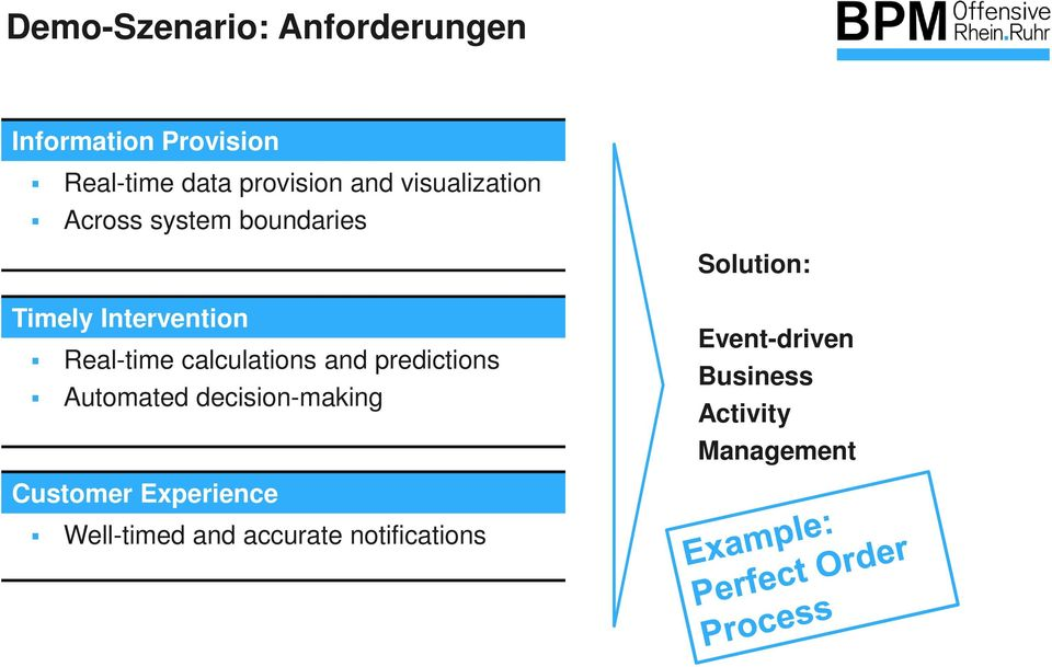Real-time calculations and predictions Automated decision-making Event-driven