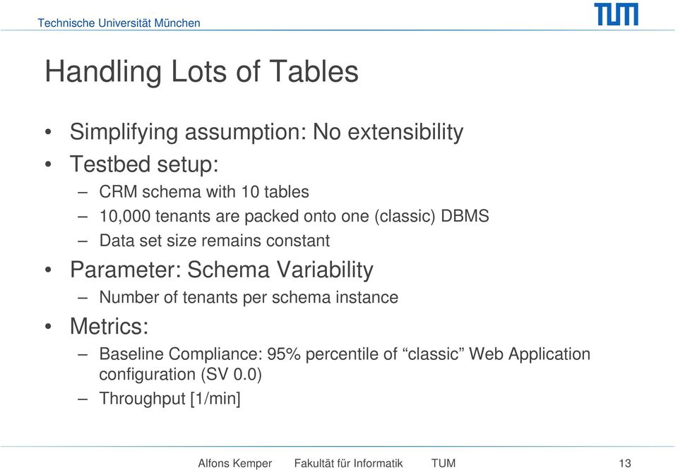 Schema Variability Number of tenants per schema instance Metrics: Baseline Compliance: 95% percentile