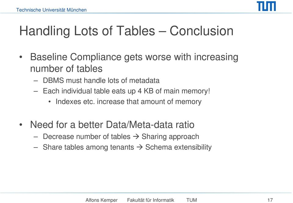 increase that amount of memory Need for a better Data/Meta-data ratio Decrease number of tables
